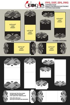 5 Lace Envelope & Card Templates Digital Cut SVG DXF Files