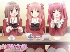 """Girl talk in a cafe with your best friends. It's like a high school 'Yuri' version of """"Sex in the City"""". Kiss For The Petals - Sara x Risa x Nanami - Yuri - Visual Novel."""