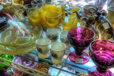 Glassware in window of Dunedin, Florida Antique shop