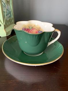 Vintage Gorgeous Crown Staffordshire Green Teacup and Saucer, Bone China, Signed JABailey, England, Stunning Green Colour!