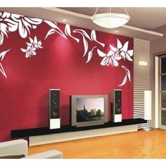 Lily Flower Leaf Flowers Unique Art Stickers Decals Tv Set Decal Wall Sticker Vinyl Wall Decor Living Room Bed Room 361