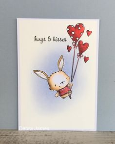 """Flying by to give hugs  #purpleoniondesigns """"Willa"""" and """"Heart Balloons"""" #copiccolouring #copiccoloring #cards #distressink"""