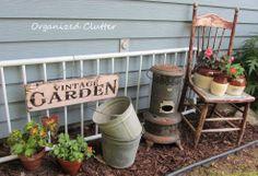 Garage sale finds can make great yard/garden decor....love this!