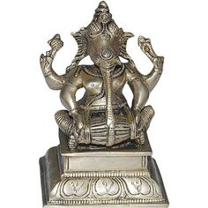 Amazon.com: Indian God Statue Ganesha Brass Sculpture Playing Hormonium: Furniture & Decor