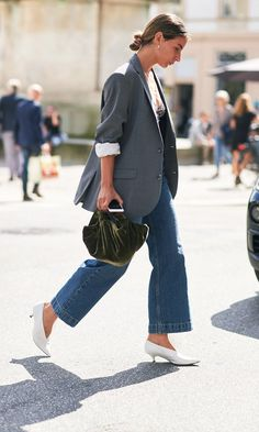 Fall street style: check blazer, crop flare jeans, white heels, and a velvet bag