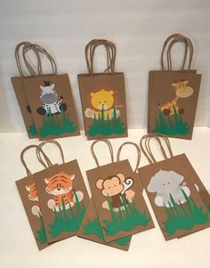 These adorable Safari favor bags are a special addition to your safari themed party They are great for candy table decoration, and they make special thank you party favor. 12 Goodie Bags of each character) Bags are (without handles) X W Safari Theme Birthday, Jungle Theme Parties, Wild One Birthday Party, Safari Birthday Party, Animal Birthday, 1st Boy Birthday, Themed Parties, Safari Party Favors, Jungle Party