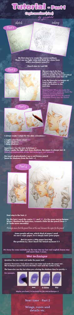 Copic marker Tutorial - part 1 by *yaichino on deviantART Copics: E50, E00 for light shadows and E11 for deep shadows.  Finished with a red-brown pencil to add shadows from the hair on the face.  Used W1 and W3 for hair.  Colors using the wet technique.
