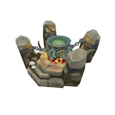 Low Poly RTS Orc Cauldron 01