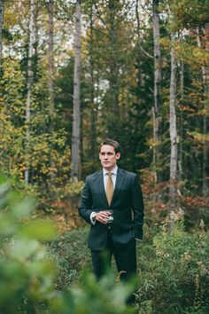 Groom | Fall Wedding | More of this wedding on SMP: http://www.StyleMePretty.com/2014/02/10/fall-hidden-pond-maine-wedding/  Emily Delamater