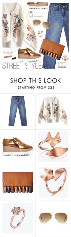 """""""Street Style"""" by paycustom-fashion ❤ liked on Polyvore featuring STELLA McCARTNEY, Rebecca Minkoff, Ray-Ban, Anastasia Beverly Hills, polyvoreeditorial, polyvorefashion and polyvoreset"""