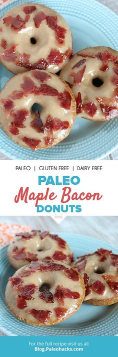 These Paleo maple bacon donuts combine smoky, candied bacon topped over a maple donut for a flavor combination you'll love. Donut Recipes, Cookbook Recipes, Real Food Recipes, Snacks Recipes, Yummy Recipes, Free Recipes, Recipies, Healthy Recipes, Paleo Dessert