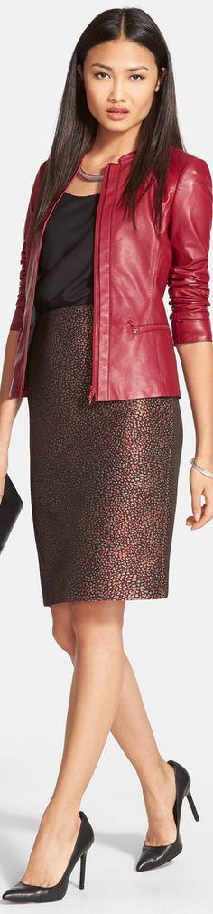 Lafayette 148 New York Lambskin Leather Jacket, Tank & Jacquard Pencil Skirt