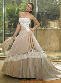 Champagne A-Line Strapless Lace Overlay Satin Wedding Dress With Draped Waist - Star Bridal Apparel Bridal Outfits, Bridal Dresses, Wedding Gowns, Gorgeous Wedding Dress, Beautiful Gowns, Colored Wedding Dresses, Maggie Sottero, Evening Gowns, Lace Dress