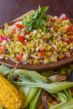 Summer Corn Salad with Cucumber, Peppers and Feta