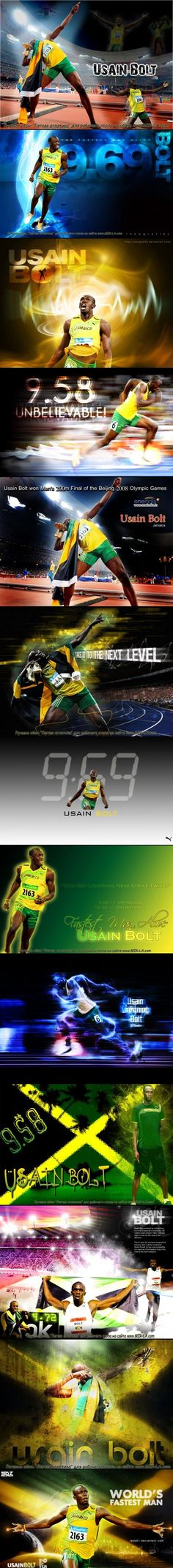Usain St. Leo Bolt - (born 21 August 1986) is a Jamaican sprinter widely regarded as the fastest person ever. He is the 1st man to hold both the 100 & 200 metres world records.  He also set the world record in the 4×100 metres relay. He is the reigning Olympic champion in these 3 events, the 1st man to win 6 Olympic gold medals in sprinting, and an 8-time World champion.