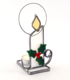 Christmas Candle Holder Holly and Berries Choice by Nostalgianmore