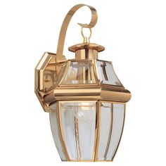 Sea Gull Lighting 8067-02 Lancaster 1 Light 14 inch Polished Brass Outdoor Wall Lantern