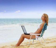 Werken op het strand