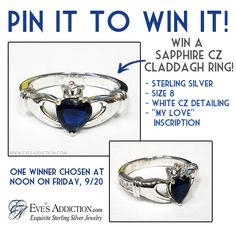 Pin to win a sapphire CZ Claddagh ring from EvesAddiction.com!  Easy Entry: 1.) Repin this pin. 2.) Comment on this pin.  One winner chosen Friday, 9/20 at noon! Good luck!