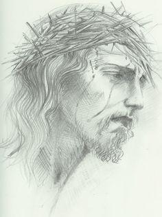 jesus crown of thorns Amazing Drawings, Easy Drawings, Pencil Drawings, Jesus Crown, Jesus Drawings, Pictures Of Christ, Jesus Face, Crown Of Thorns, Bible Art