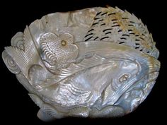 Mother of pearl Carved Shell .