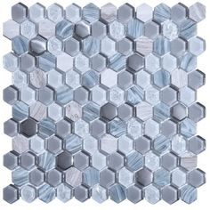 """1"""" Hexagon Pattern Living Grey Glass and Marble Mosaic Tile. #Hexagon_Pattern #Living_Grey_Glass #Marble_Mosaic_Tile"""