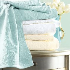 Parisian Bath Towels - 100% cotton matelasse velour towels