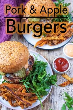 Try something different this burger night with these Pork and Apple Burgers. Lean and moist burgers with a hint of sweetness - they make a nice change from beef burgers. Pair with some homemade sweet potato fries and a salad for burger night with a differ Pork And Apple Burgers, Pork Burgers, Turkey Burgers, Veggie Burgers, Hamburgers, Homemade Sweet Potato Fries, Easy Homemade Burgers, Healthy Sandwiches, Sandwich Recipes