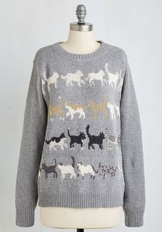 Meow That's More Like It! Sweater - Multi, Grey, Print with Animals, Print, Cats, Critters, Long Sleeve, Knit, Best, Crew, Mid-length
