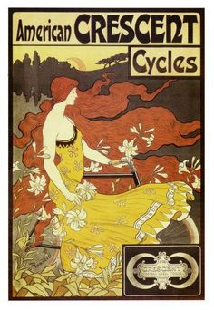 ART NOUVEAU Print of Lady with long flowing reddish brown hair on Crescent Cycle Ad--Featured in Etsy Treasury List on Etsy, $12.00