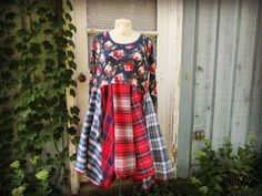 Floral Plaid Flannel Bohemian Upcycled Dress// Medium Large// Red Blue Cotton// emmevielle by emmevielle on Etsy https://www.etsy.com/listing/245731543/floral-plaid-flannel-bohemian-upcycled
