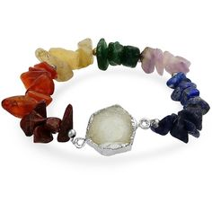 Silver Plated Druzy Agate Multi Gemstone Chip Chakra Bracelet 8in ($21) ❤ liked on Polyvore featuring jewelry, bracelets, bracelets fashion bracelets, multicolor, tri color jewelry, tri color bangles, agate bangle, colorful bangles and imitation jewellery