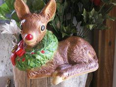 Vintage Handcrafted Christmas Fawn w/wreath by dagutzyone on Etsy, $25.00