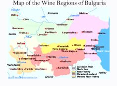 Map of Bulgaria Wine Regions and Surrounding Countries of Greece,Turkey, Macedonia, Russia,Serbia and Monte Negro. Also the Black Sea.