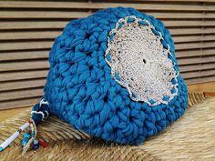 Blue Petrol Crochet Bag Crochet Handbag Crochet Shoulder Bag Crochet Bucket Bag Hippie Bag Hemp Round Bottom Boho Charms T-Shirt Yarn Bag by Hishuk on Etsy