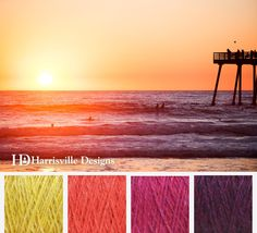 'Last Weeks of Summer' color palette featuring or Shetland yarn in: Cornsilk, Zinna, Raspberry, and Black Cherry. Paint Color Combos, Yarn Color Combinations, Paint Color Palettes, Colour Pallette, Colour Schemes, Color Mixing, Color Plan, Design Seeds, Pallets