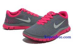 Goedkoop Schoenen Nike Free 4.0 V2 Dames (kleur:vamp-grijs;logo-wit;binnen&zool-roze ) Online Winkel.