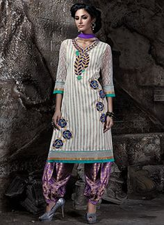 Off White Bhagalpuri Silk Patiala Suit