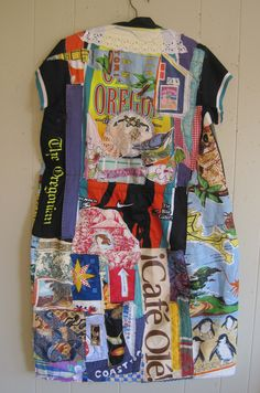 My Bonny Oregon Cycle  Recycled Materials DRESS - Wearable Folk Art Fabric Collage Couture - Altered Linens Assemblage  - Eclectic  Artisan