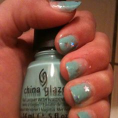 blue nail art using china glaze's For Audrey. i love this color!