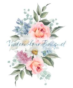 Floral Watercolour Clip Art Peach Roses Digital Printable Design