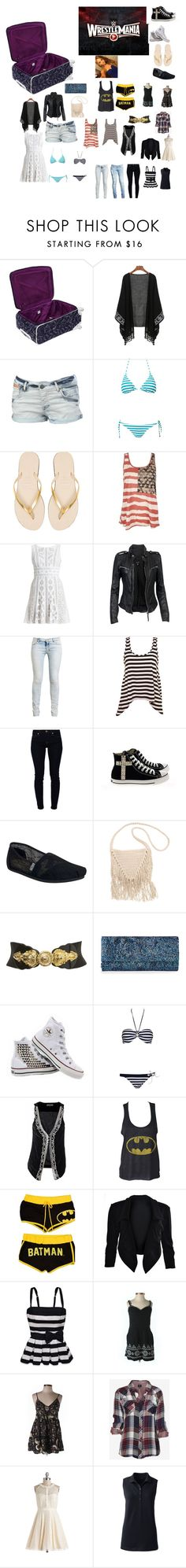 """""""Sarah's Suitcase for Wrestlemania 31"""" by wwetnagirl ❤ liked on Polyvore featuring Diane Von Furstenberg, Superdry, Pieces, Havaianas, BCBGMAXAZRIA, MuuBaa, Ksubi, 7 For All Mankind, Converse and TOMS"""