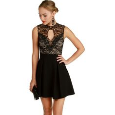 Black Midnight Skater Dress ($43) ❤ liked on Polyvore featuring dresses, victorian lace dress, key hole dress, skater dress, keyhole skater dress and v neck skater dress