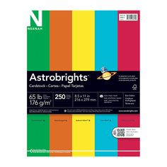 """Neenah Astrobrights� ECO Bright FSC Certified Color Cover Paper, 8 1/2"""" x 11"""", 30% Recycled, Assorted Colors, Pack Of 250 Sheets"""