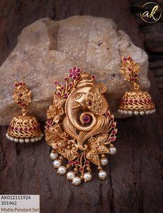 WhatsApp to 9790220010 Gold Jewellery Design, Gold Jewelry, Beaded Jewelry, Diamond Jewelry, Gold Earrings, Pendant Jewelry, Pendant Set, Gold Pendant, Hair Brooch