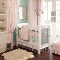 Ritzy Baby Crib Bedding | Girl Baby Bedding in Pink and Mist| Carousel Designs