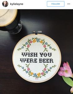 Wish you were beer cross stitch                                                                                                                                                     More