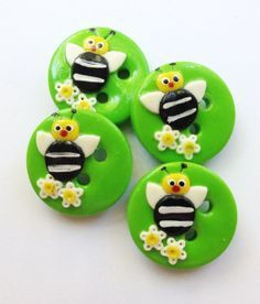 Bee Buttons polymer clay handmade craft buttons (set of 4) via Etsy