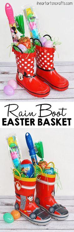 Use rain boots as an Easter basket...such a cute idea!!