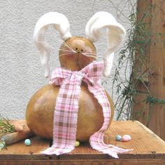 Easter Gourd Bunny Rabbit Natural Centerpiece by pinchmeboutique